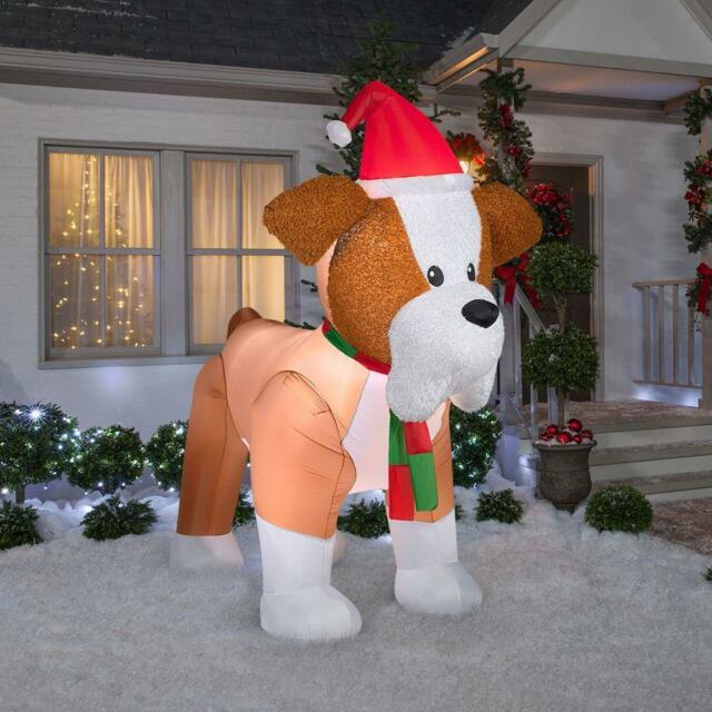 8 ft high inflatable fuzzy french bulldog lighted christmas holiday gemmy