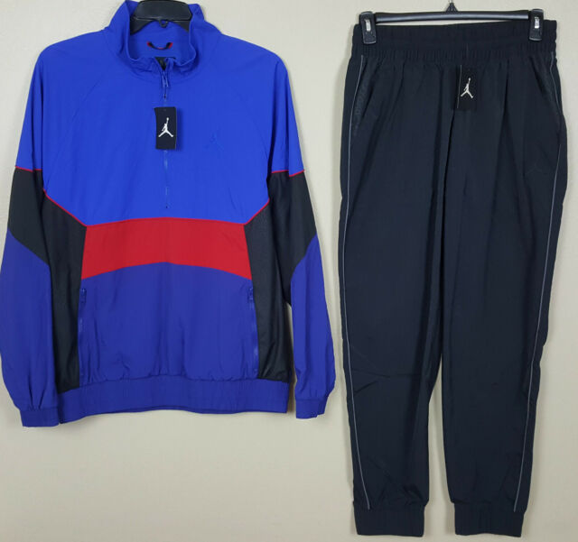 NIKE AIR JORDAN RETRO 3 TRACK SUIT JACKET +PANTS BLUE BLACK RED (SIZE XL / 2XL)