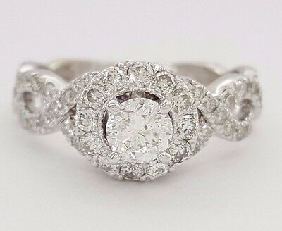 Neil Lane Bridal 1 Ct 14k White Gold Round Cut Diamond Halo Engagement Ring Ebay