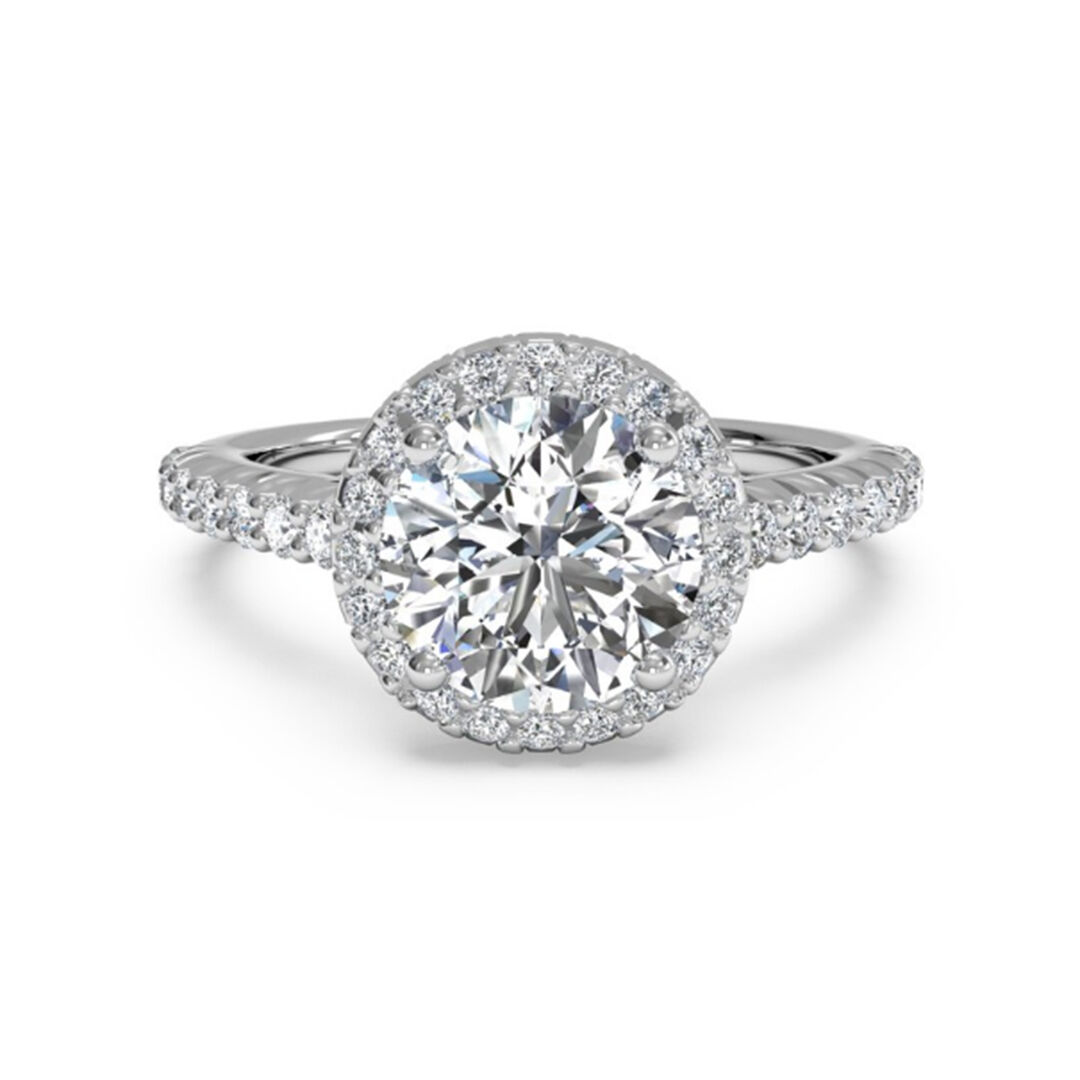 14K White gold Solitaire 1.00 Ct Diamond Engagement Ring Size 8