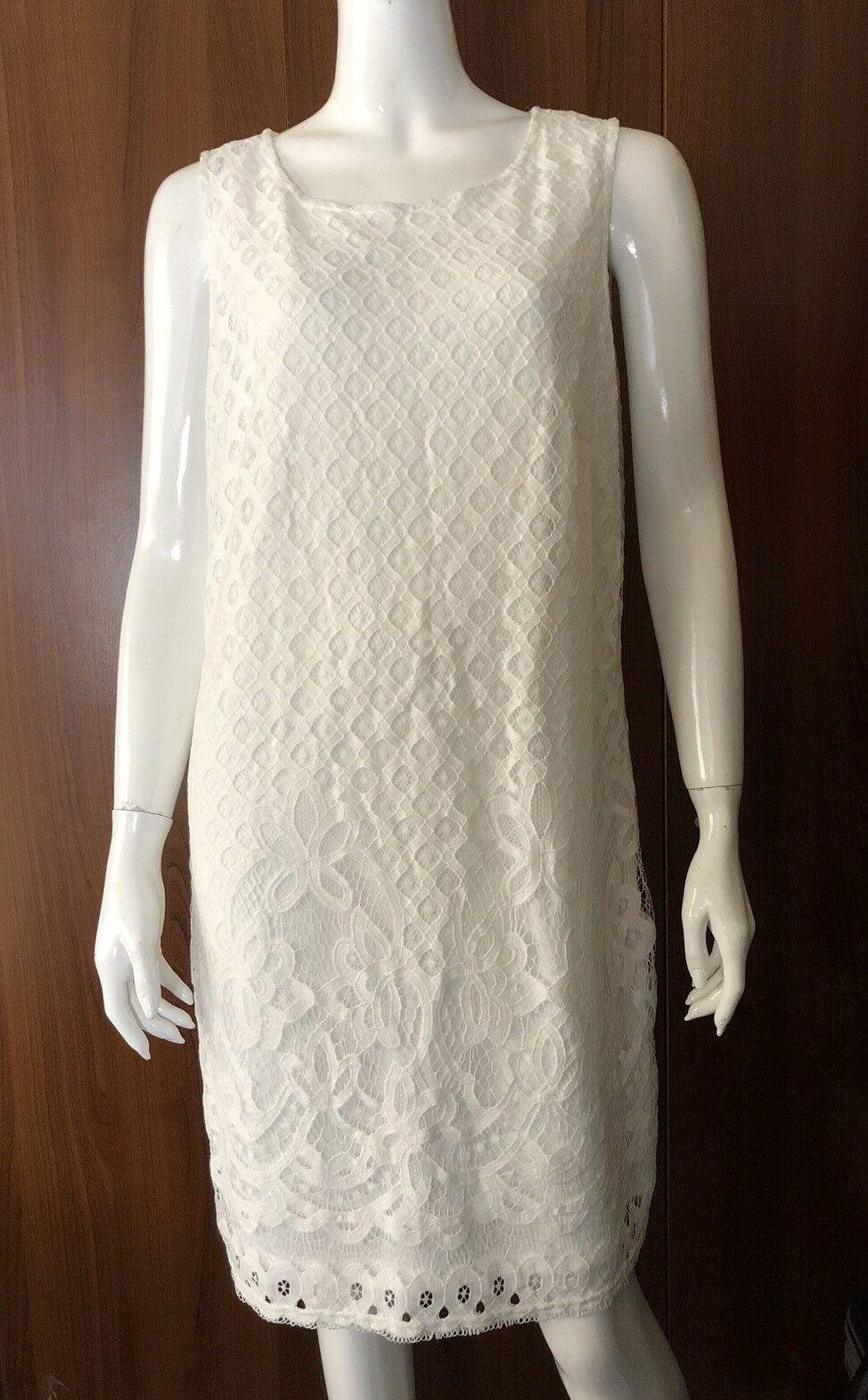 NWT SHARAGANO Womens Sz 14 Ivory Lace Dress Sleeveless