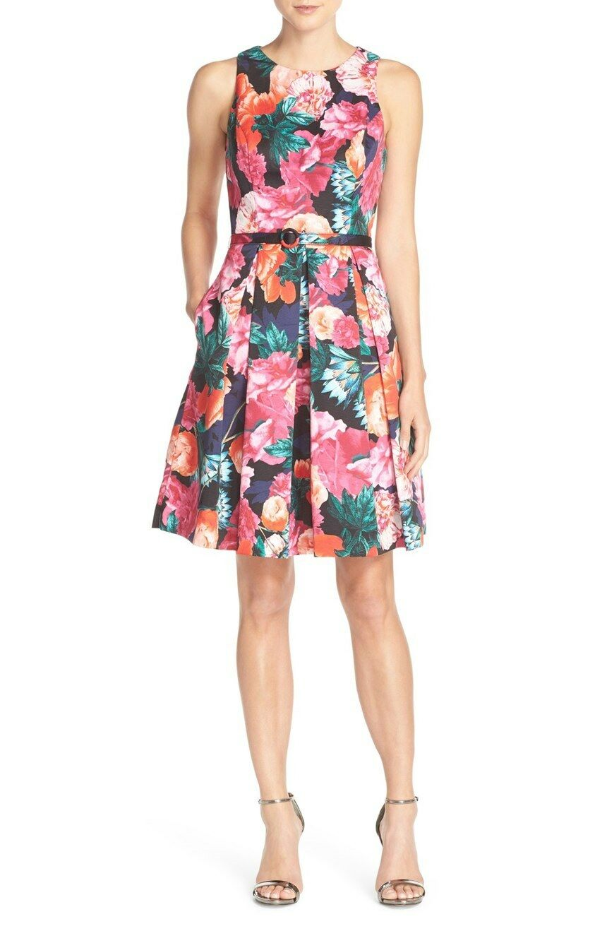 New Eliza J Belted Floral Print Faille Fit & Flare Dress 10 Petite