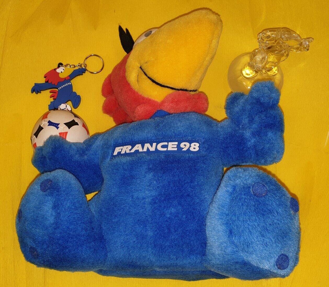 World Cup France 1998 FOOTIX'98 Glass Plush & Rubber Soccer Mascot Figure Set