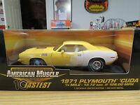 Ertl  Rare 1971 Yellow Plymouth 'Cuda 440+6 , Limited Edition , 1:18 Scale, New