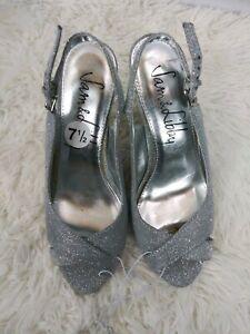 Sam-Edelman-Women-s-High-Heel-Size-7-5-Silver-Metallic-7-1-2-Strap