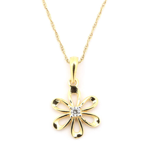 14k Yellow Gold Cubic Zirconia Small Flower Pendant Necklace