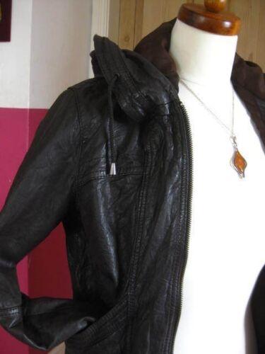Escudo Next 10 Indie Reino Sudadera Bomber con Unido desgastado de capucha chaqueta marrᄄᆴn Tamao seoras de para cuero Sxra0wqSU