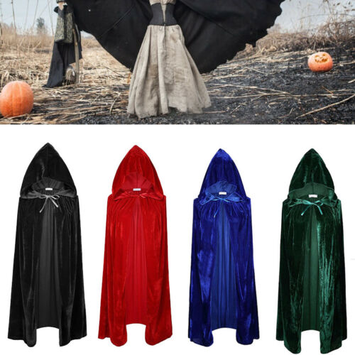 Adult Unisex Velvet Cosplay Party Costumes Cloak Hood Cape Coats Trench Solid