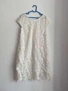 H&m fille enfants été blanc crème crochet doublé broderie Anglaise Robe 8-9 Y