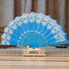 Chinese/Japanese Silk Lace Folding Hand Held Flower Fan for Wedding Party Dance