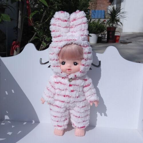 Lovely Doll Knit Skirt Hat Jumpsuit Set for 25cm MellChan Baby Doll Girl Toy