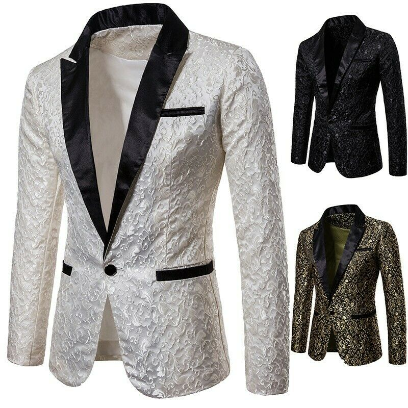 Mens Vogue Europe Jacquard Weave Lapel Suit Formal Wedding Dress Show Blazer jwk