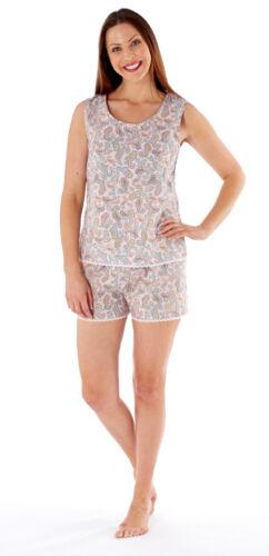 Ladies Laura Shortie Pyjama Set With Bus Top 100/% Cotton Ladies Sizes 8-18 LN426