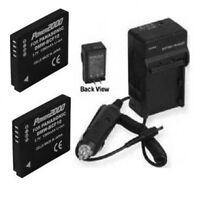 Two 2 Batteries + Charger For Panasonic Dmc-fh20 Dmc-fh20a Dmc-fh20k Dmc-fh20p