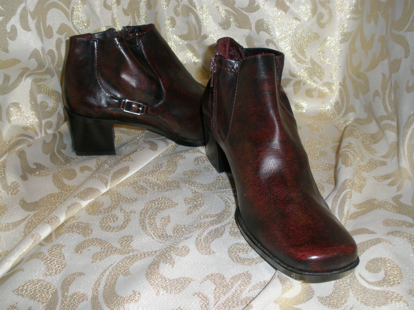 LIZ CLAIBORN BURGUNDY SYNTHETIC ANKLE PANTS BIKER BOOTS BOOTIES SZ: 8.5 M  PAGE