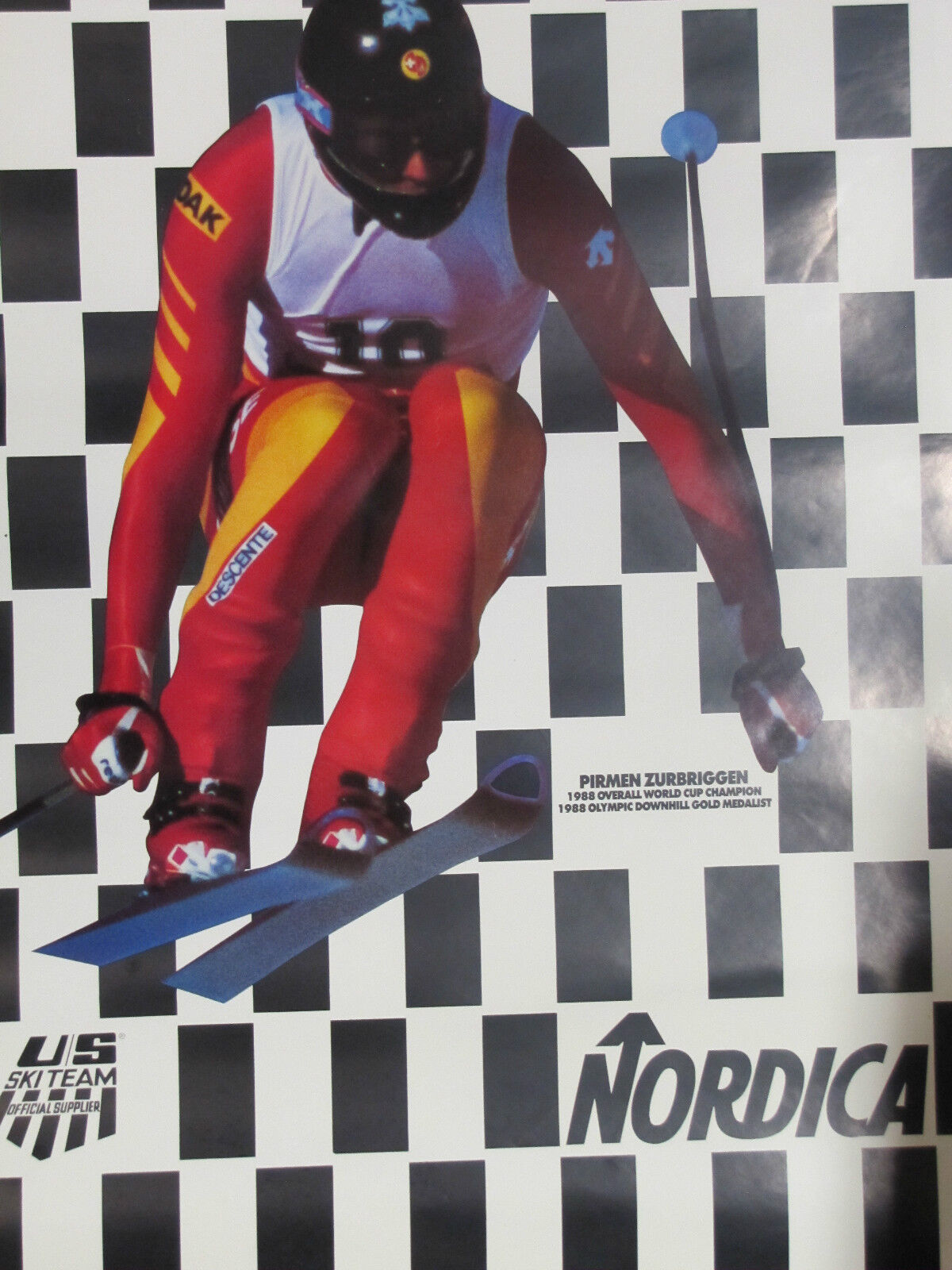 Orig NORDICA REACH A  NEW HIGH PIRMEN ZURBRIGGEN Ski Skiing Ad Sign Poster  is discounted