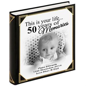 """Personalised Grandi Album Di Foto, Guestbook, 400 x foto 6x4"""", 50th regalo di compleanno  </span>"""