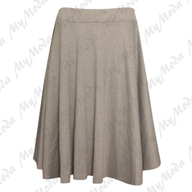 96d471e22d4 Ladies Women s Plain Stretchy Elasticated Plus Size Skater Skirt Sizes 14-28  Grey 14