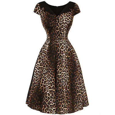 Hell Bunny Panthera Leopard Print Retro Vintage 1950s Rockabilly Swing Dress