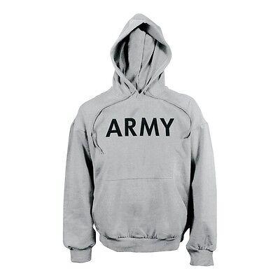 Army Hoodie Con Cappuccio Sport Us Hoody Felpa Sport Shirt Grigio Large-mostra Il Titolo Originale Bianchezza Pura