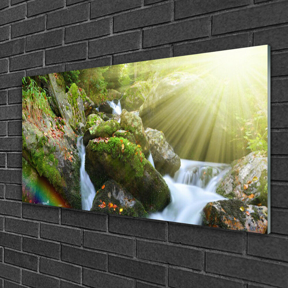 Glass print Wall art 100x50 Image Picture Sun Waterfall Rainbow Nature