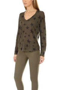 RAILS-Women-s-Sami-Long-Sleeve-Tee-Top-Sage-Olive-Green-Stars-Large-Linen-Tencel