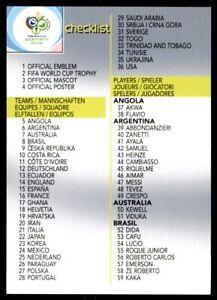 Panini World Cup 2006 Trading Card Checklist 1 No 204 Ebay