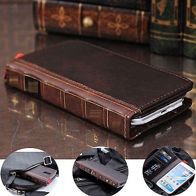 Genuine Retro Leather Flip Card Wallet Stand Case Cover For iPhone & Samsung