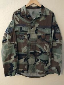 57bb33ca3a6e9 Military Issue Woodland Camo M65 Field Jacket Coat US Army MED LONG