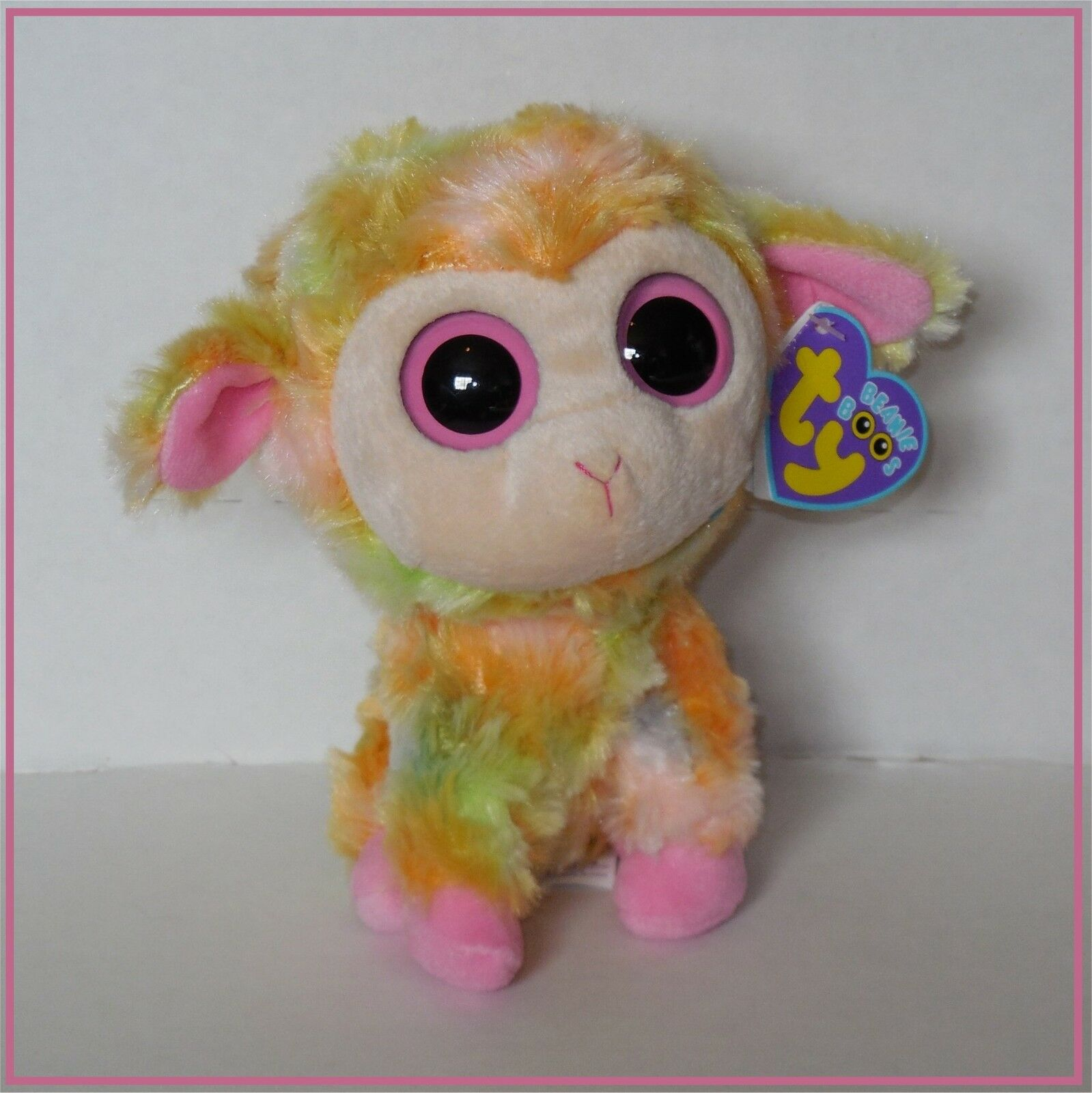 NWT Ty Beanie Boo Blossom pink yellow multi-colord lamb Easter plush toy 6
