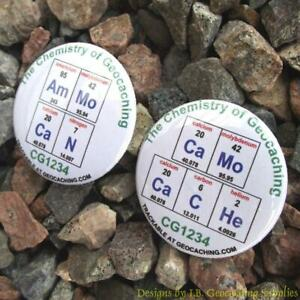 Set-of-12-Trackable-Chemistry-of-Geocaching-Buttons-Different-Designs
