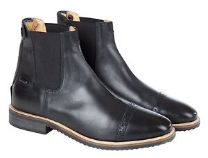 Huntley Equestrian Women's Black Leather Zipper Paddock Boots