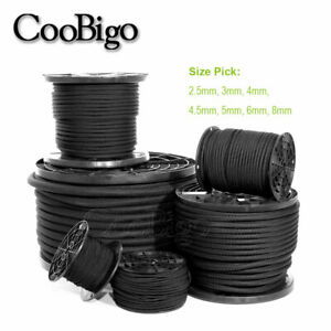 ELASTIC 3MM ROUND BLACK SHOCK CORD X 10 METRES FROM MANUFACTURER FREE POSTAGE
