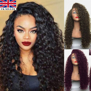 Brazilian-Remy-Hair-Women-Long-Full-Wavy-Front-Lace-Wig-Afro-Curly-Natural-Hair