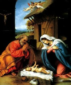 nativity joseph mary baby jesus manger angels painting by lorenzo