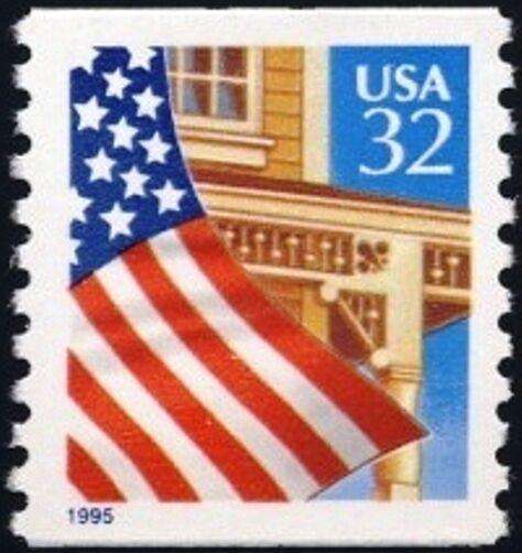 1995 32c Flag over Porch, Coil Scott 2914 Mint F/VF NH