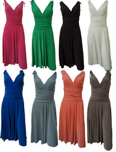 New-Womens-Plus-Size-Doube-Vest-V-neck-Drape-Waisted-Knee-Length-Dress-12-26