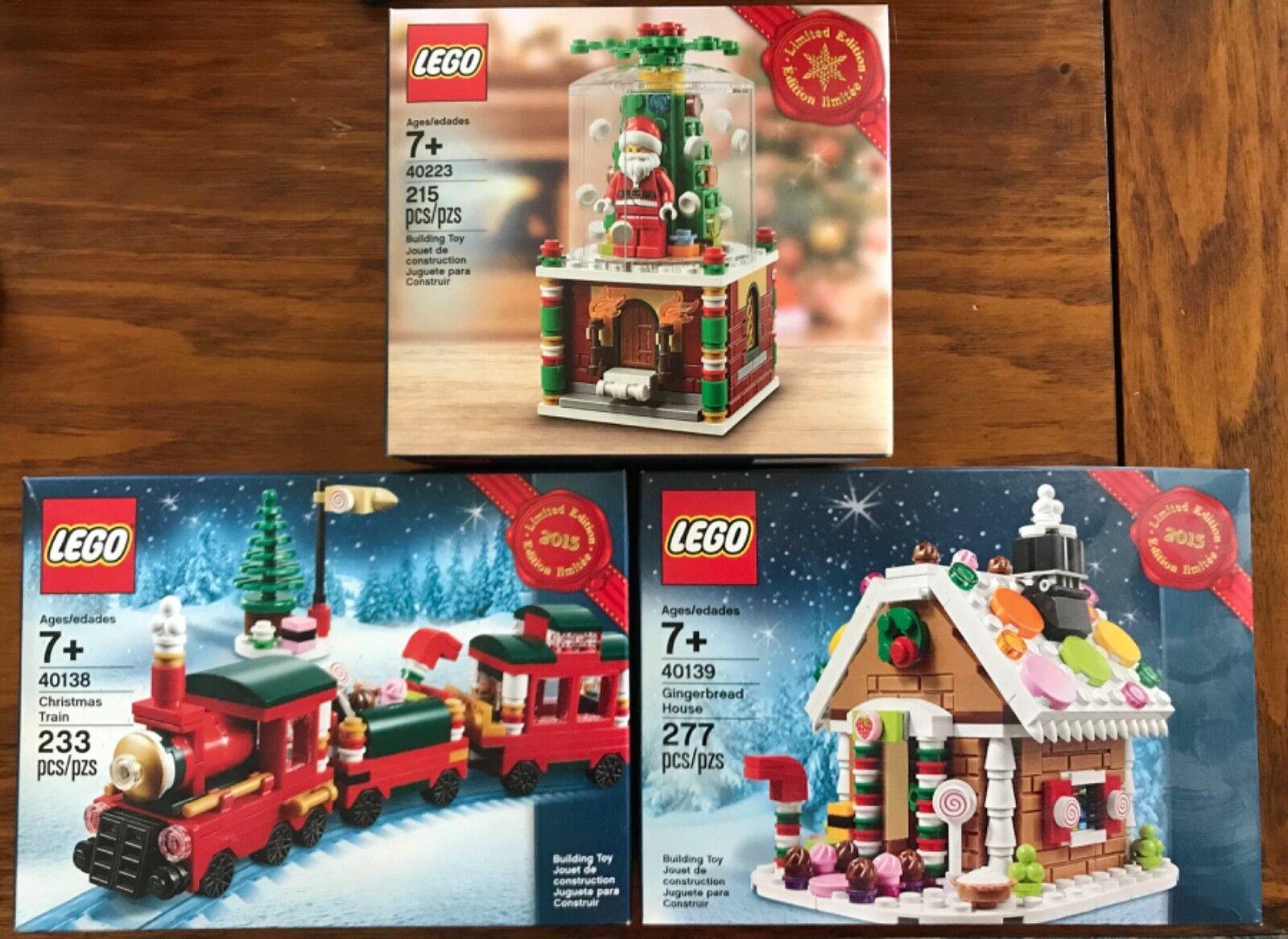 Lego Lego Lego Limited Edition Christmas Train 40138,Gingerbread House 40139 & Globe 40223 040c09