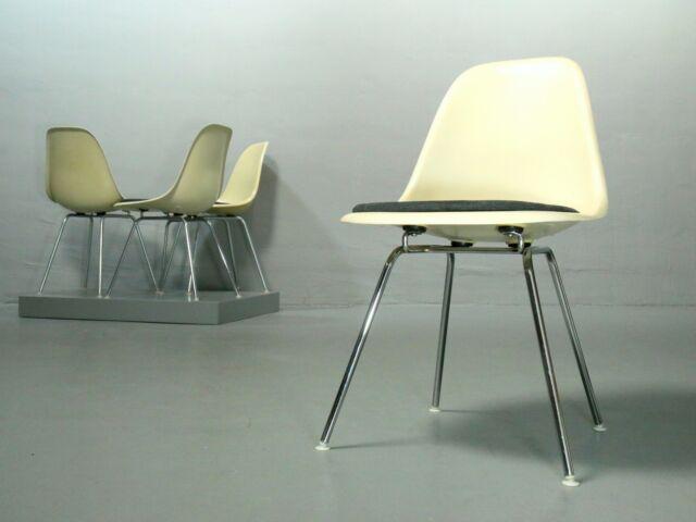 4 x Eames Side Chair Herman Miller Fiberglas Parchment, H-Base DSX Vitra Stuhl