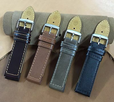 Size 20/22mm Genuine Cow Leather Watch Strap/Band Army Military Pilot Watch H5