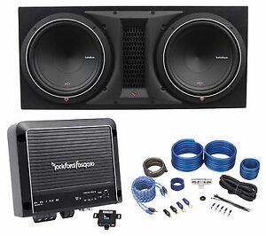 rockford fosgate p1 2x12 dual 12 quot  1000w subwoofers enclosure amplifier amp kit ebay