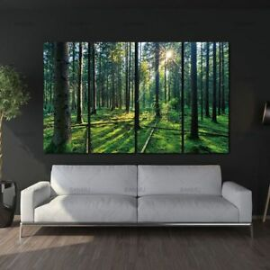 Forest-amp-Sunrise-Sunlight-Oil-Painting-Green-Tree-Woods-Canvas-Painting-4-Panels
