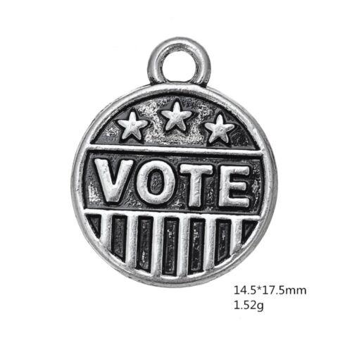 10pcs Antique silver plated  Vote Word Charm pendant M0134