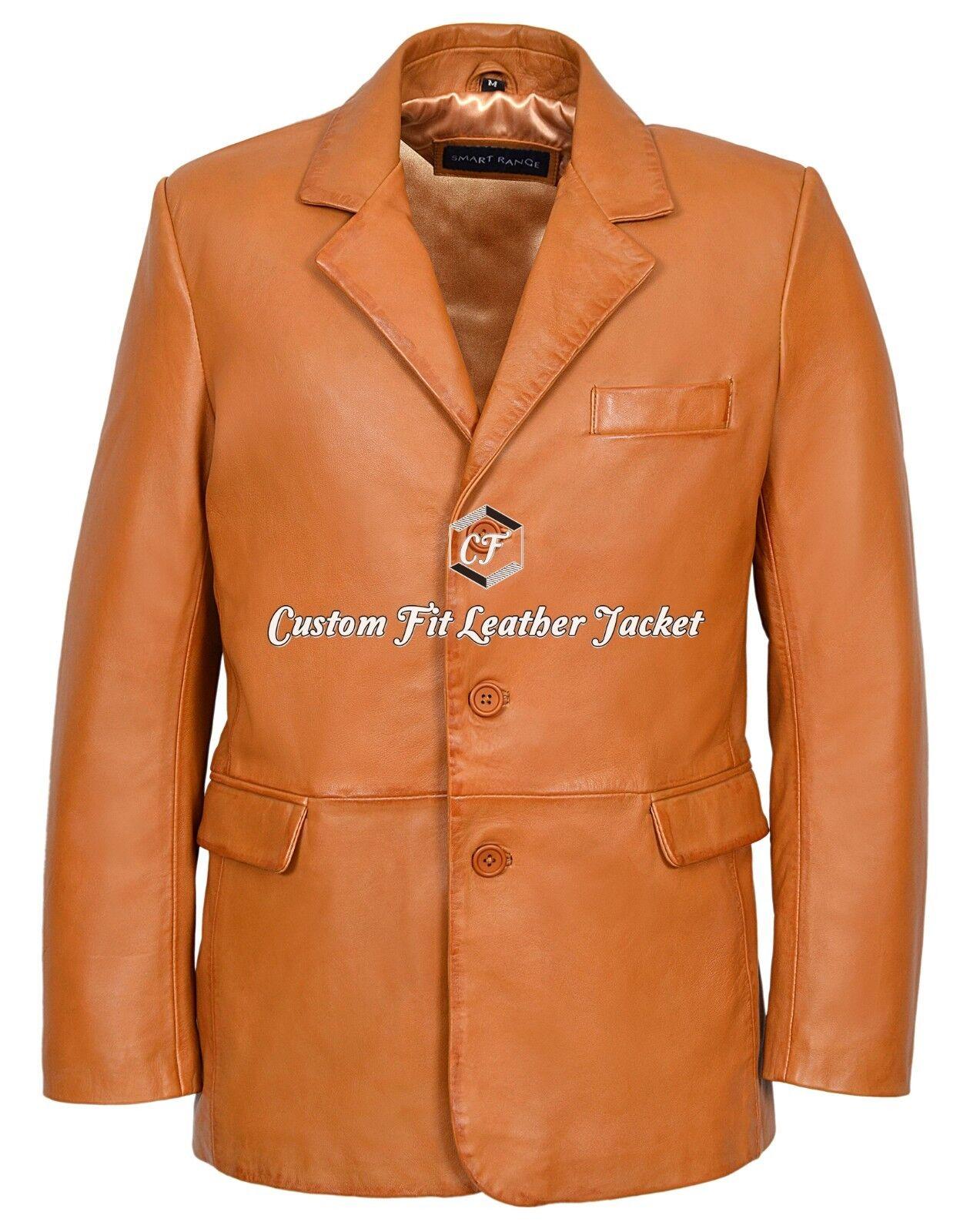 Mens Leather BLAZER Tan Tailored Soft 100% REAL NAPA Coat 865
