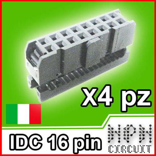 4X IDC 16 PIN CONNETTORE FEMMINA per cavo Flat passo 2,54 4 pezzi