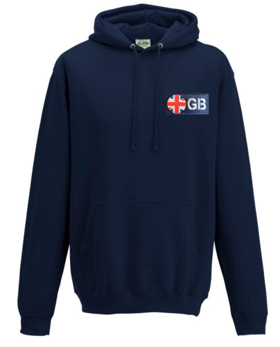 Navy Blue GB UK UNION JACK GREAT BRITAIN Flag Hooded Sweatshirt Hoodie S-XXL