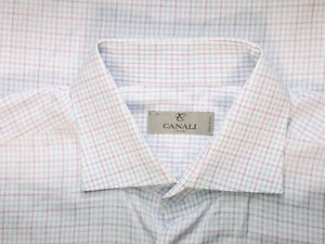 Canali-1934-Silver-Label-White-Micro-Check-Cotton-Spread-Dress-Shirt-Sz-16
