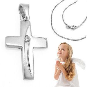 Details Zu Zirkonia Kreuz Anhänger Baby Taufkette Zur Taufe Kommunion Mit Kette Silber 925