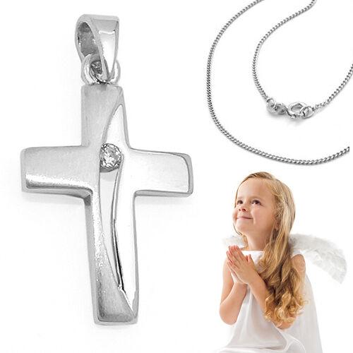Zirkonia Kreuz Anhänger Baby Taufkette zur Taufe Kommunion mit Kette Silber 925