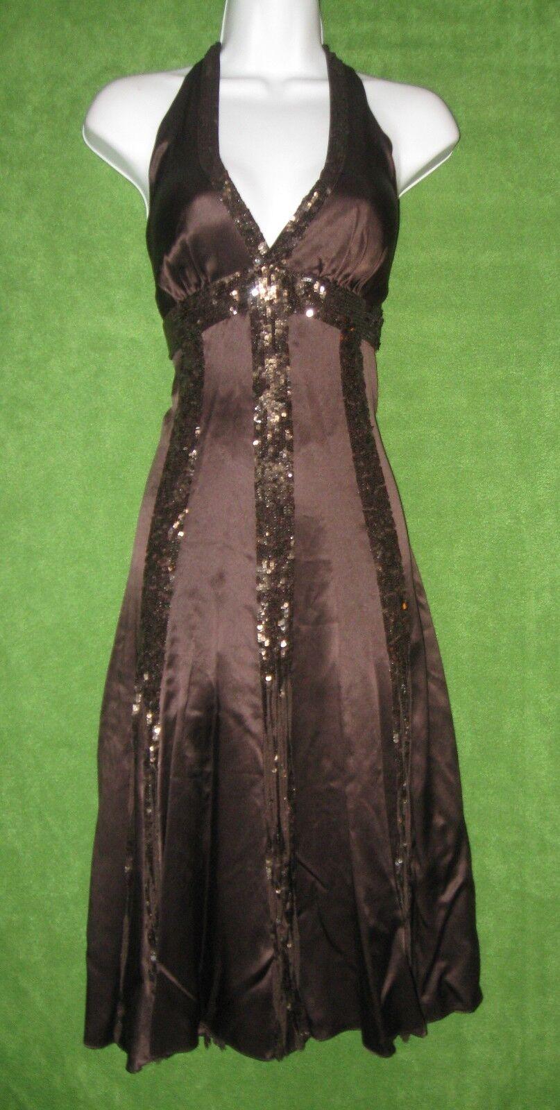 BCBG Maxazria Brown Silk Sequin Fringe Halter Social Dress 4  368